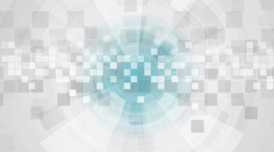 Abstract grey futuristic technology background with HUD gear elements and squares. Vector illustration